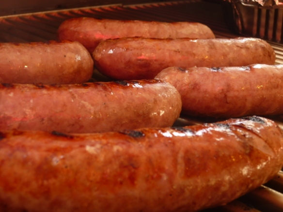 Brats on the Saber Grill