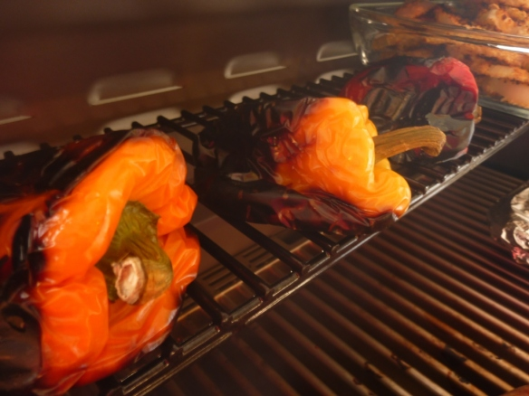 Roasted peppers on Saber Grill