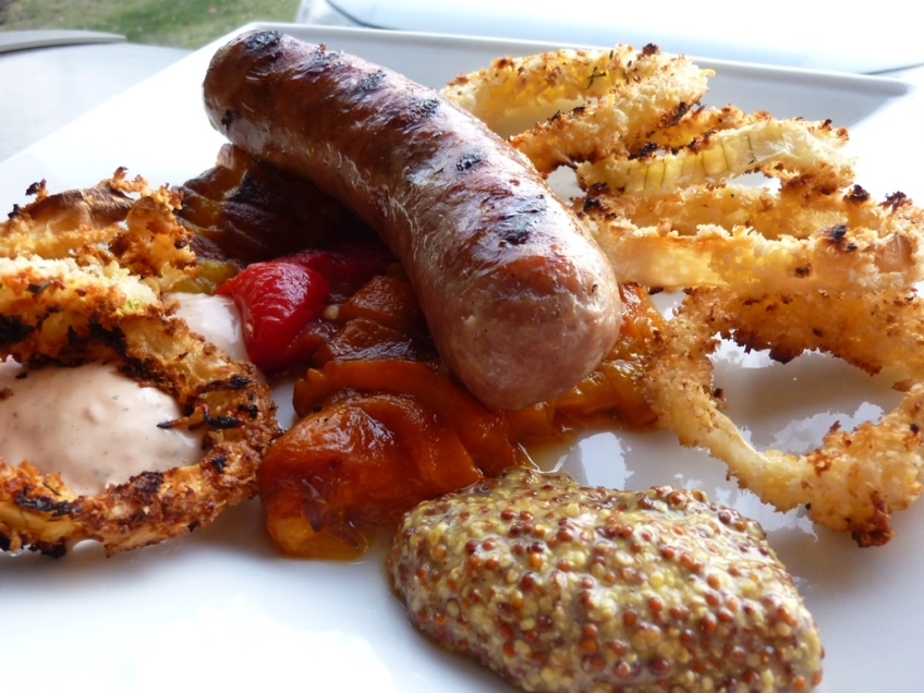 Roasted Peppers and Brats plated